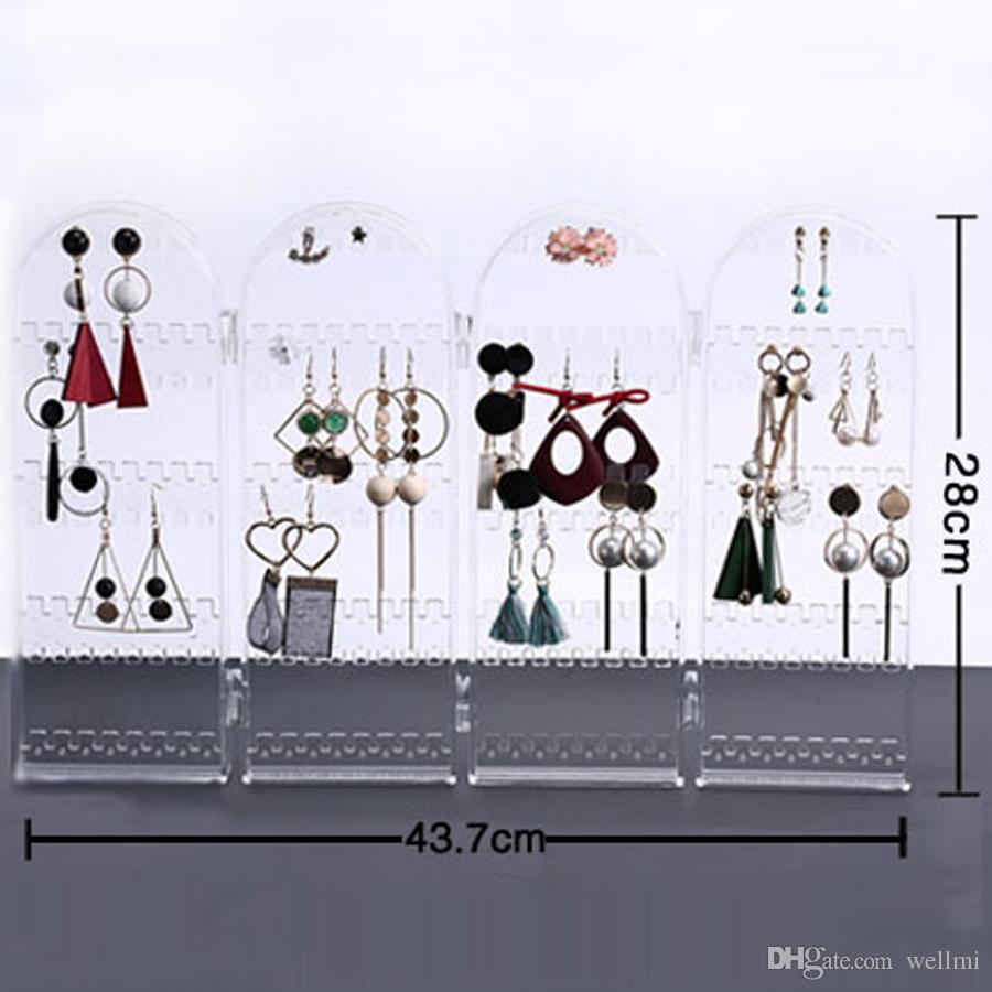Soporte de exhibición plegable del sostenedor de la joyería Estante 4 estantes Pendientes de acrílico del collar Pendientes de acrílico claros multifuncionales Studs