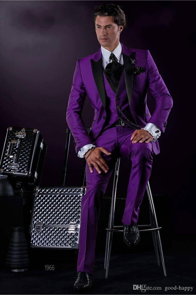 740ad1cc5817 Fashion Slim Fit Purple Groom Tuxedos Excellent Groomsman Men Formal ...