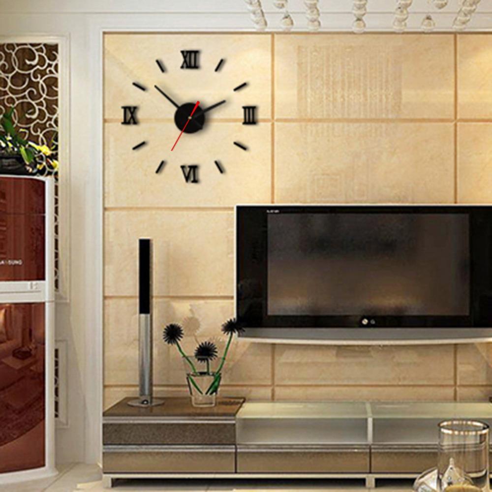 Modern DIY Interior Roman Wall Clock Wall Clock 3D Sticker Home ...