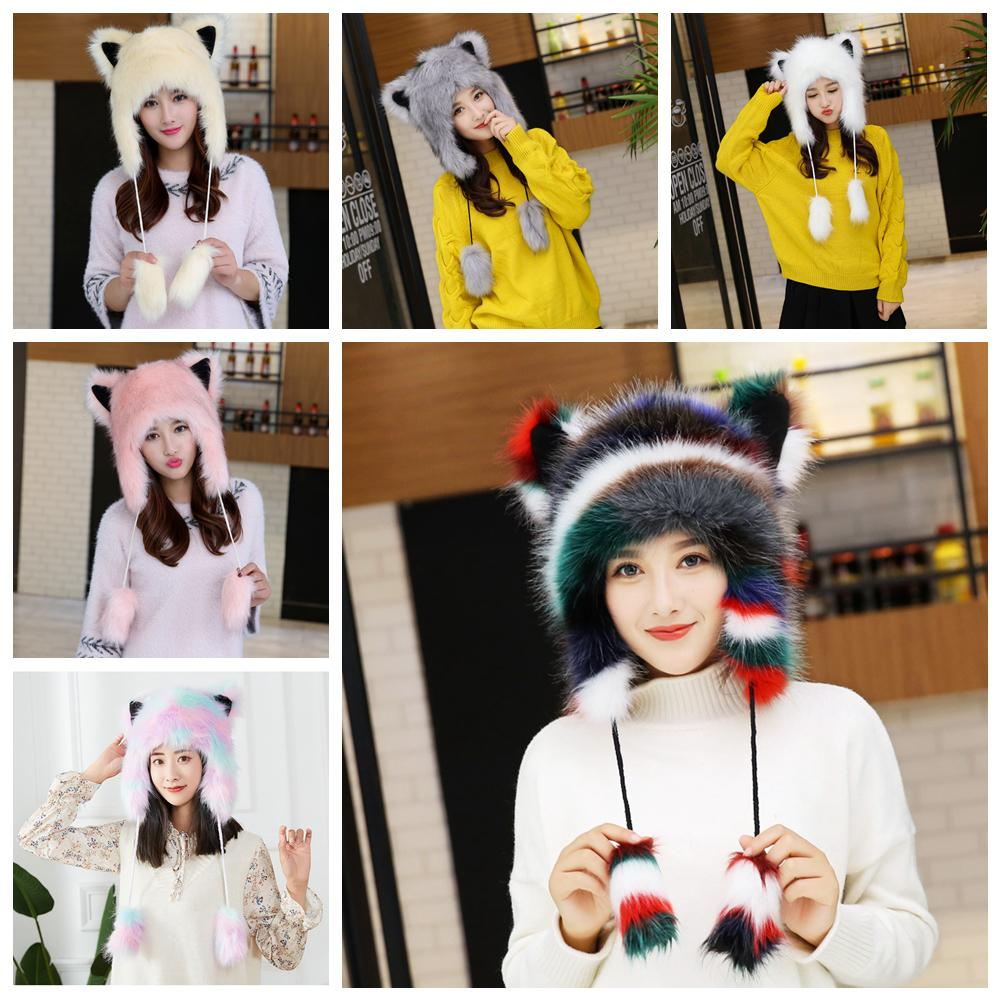 06113b913e6 Winter Women Faux Fur Lei Feng Hat Warm Earmuffs Thickening Cute Cartoon  Fox Fur Northeast Outdoor Ear Protection Animal Trapper Cap AAA1095 Fur Lei  Feng ...