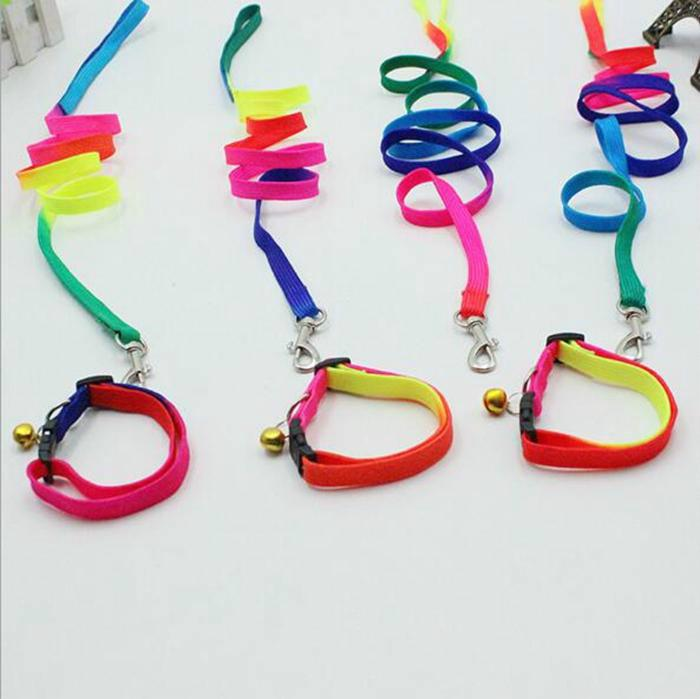 New Rainbow Dog Leashes Nylon Adjustable Pet Dog Collar Puppy Necklace Rope Collar Pet Supplies 1*120cm Y2288