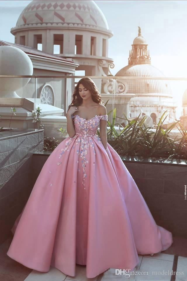 2018 New Saudi Arabia Formal Evening Dresses Off Shoulder Flower Appliques Ball Gown Satin Modest Pink Prom Party Vestidos de Fiesta Custom