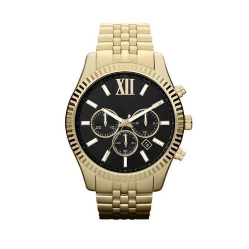 LEXINGTON CRONOCHOGROSO GOLD-TONE BLACK DIAL RELOJ DE MENS 8280 8281 8286 8313 8319 8320 8405 8157 8344 con caja y certificación