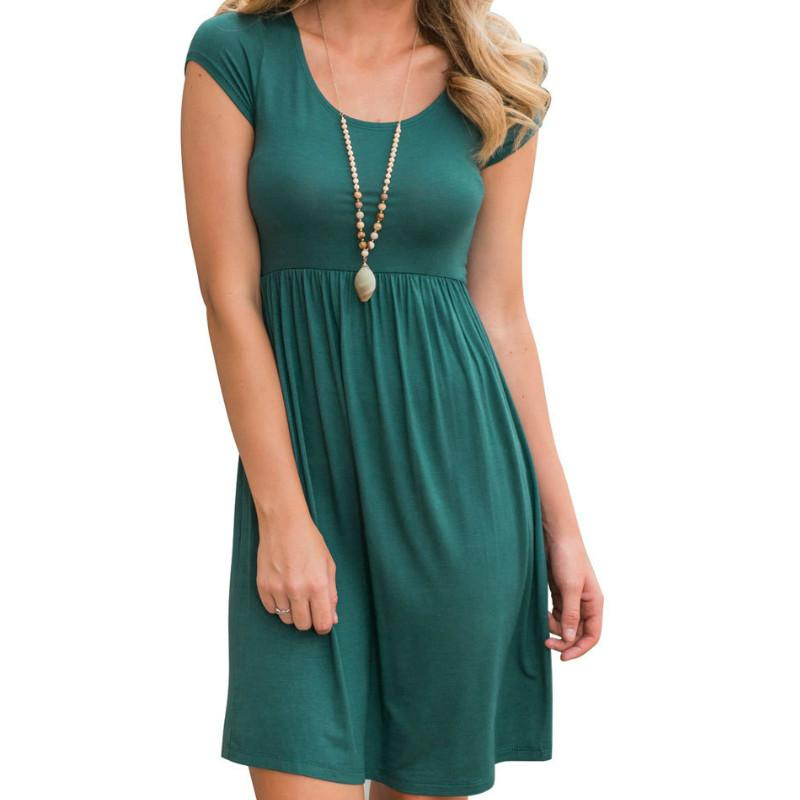 2018 Pleate Dress Women Summer Casual O Neck Fit Flare Dress Solid ...