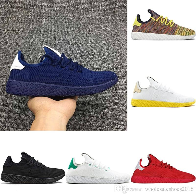 timeless design fc399 09559 2019 2018 Pharrell Williams X Stan Smith Tennis Men Women Running Shoes HU  Primeknit White Green Blue Red Mesh Sports Sneaker Size 36 45 From ...