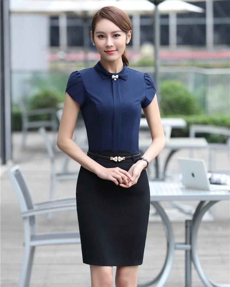 aaf4a4113a077 2019 Summer Formal Two Piece Sets Women Business Suits With Skirt And Top  Sets Ladies Dark Blue Shirts Tops Short Sleeve From Berniee, $48.29 |  DHgate.Com