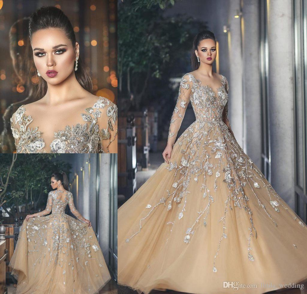 b2e7ef31ab 2018 Sheer Neck Champagne Evening Dress Appliques Tulle Long Sleeves Formal  Holiday Wear Prom Party Gown Custom Made Plus Size Long Evening Dresses  Cheap ...