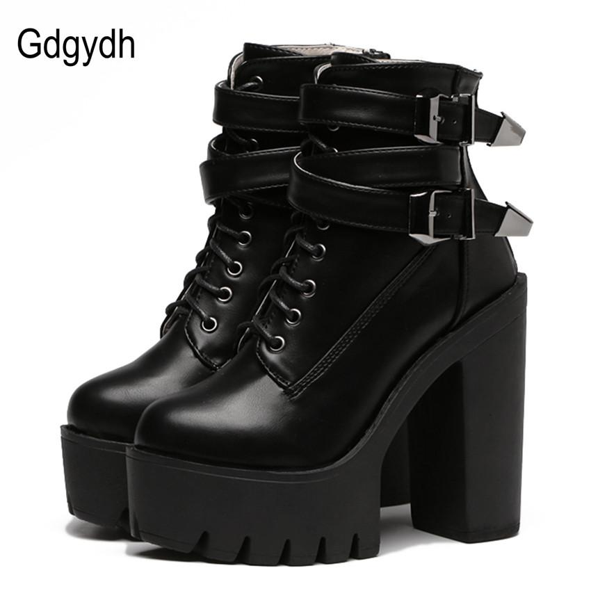 fc188785e6e Gdgydh 2018 Autumn Fashion Women Boots High Heels Platform Buckle Lace Up  Leather Short Booties Black Ladies Shoes Good Quality Shoes For Sale Cheap  Cowgirl ...