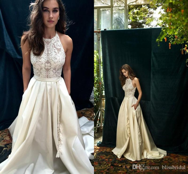 Discount 2017 Ivory Lace And Satin Boho Wedding Dresses With Pocket