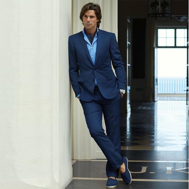 Acquista 2018 Custom Made Blu Navy Vestito Da Uomo Slim Fit Smoking Suit  Smoking Tailor Made Abiti Da Sposa Uomo 2 Pezzi Jacket + Pants A  117.17  Dal ... 4d0ce9a6716