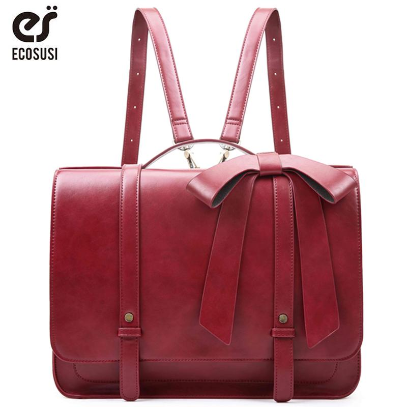 af84029cb2 ECOSUSI New Fashion Women PU Leather Handbags Vintage Pu Leather Messenger  Bags Shoulder School Laptop Messenger Bags Tote Bag Y18102604 Womens Purses  Women ...