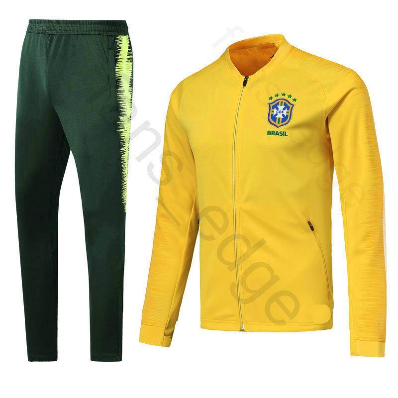 8446e499b 2018 World Cup Brazil Football Jacket Adult Home Yellow Soccer Training  Suit Kit Tracksuit Chandal Set Sportswear Sports Long Skinny Pant Brazil  Training ...