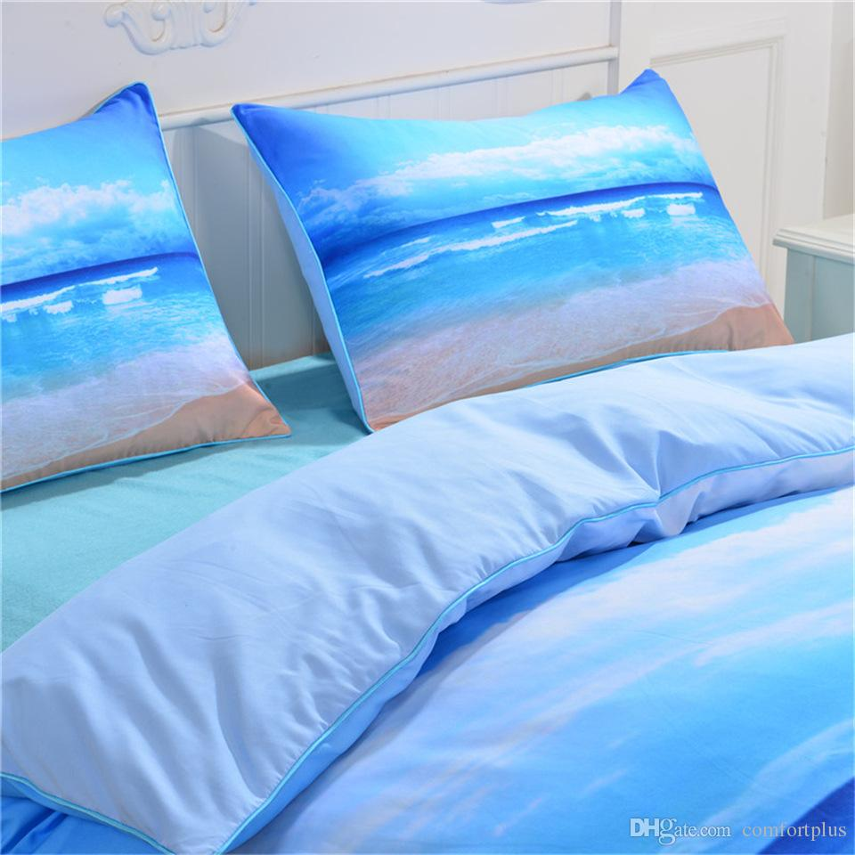 Sea Beach Design Bedding Set Of Duvet Cover Set Quilt Cover With Pillowcase Twin Full Queen King Size 4 Designs