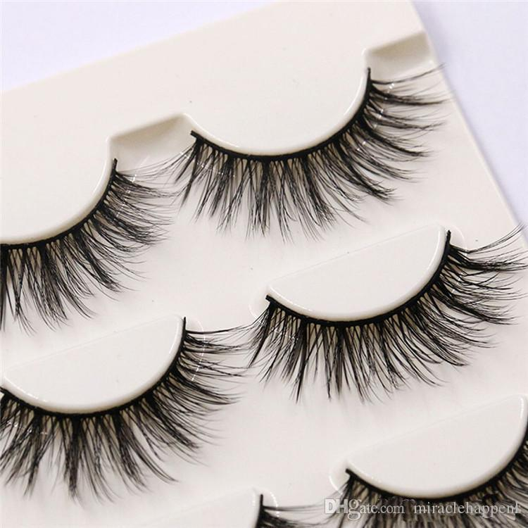Natural Handmade Black False Eyelashes Fashion Makeup Fake Eyelashes Cross Messy Soft 3D Eye Lashes dropshipping by epacket