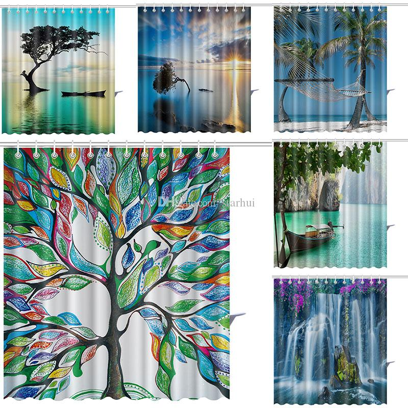 2018 165180cm Tree Of Life Shower Curtains Color Waterfall Waterproof Bathroom Curtain Decoration With Hooks Free DHL WX9 135 From Starhui