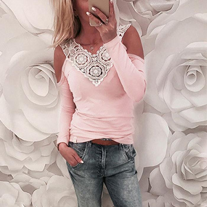 Sexy Cold Shoulder Female T-shirt Crochet Lace Splice V Neck Long Sleeve T-shirts for Women Slim Casual Pink T Shirt Tee Tops