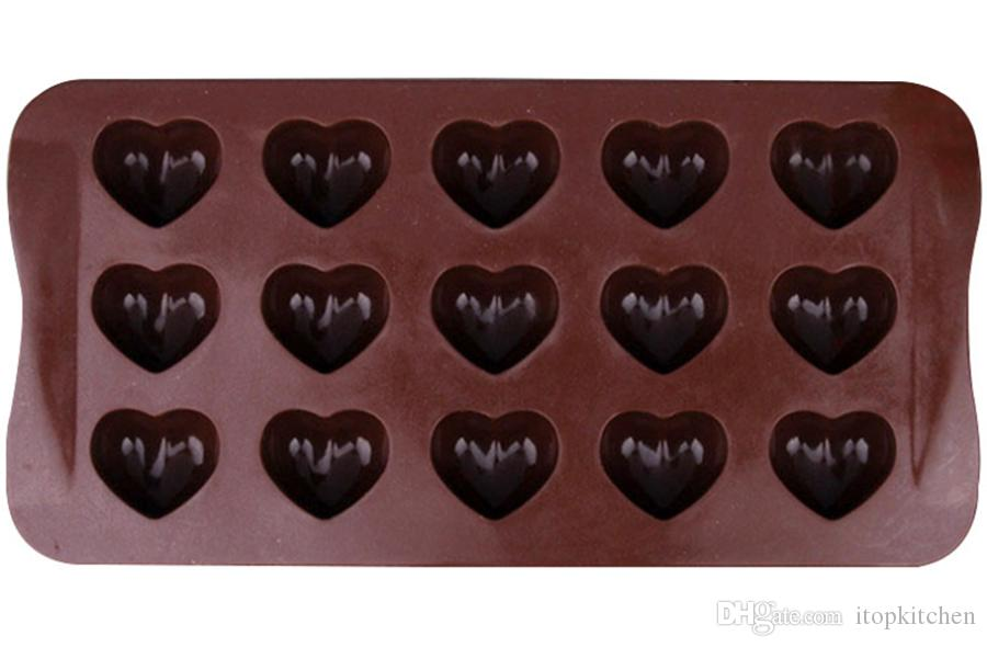 15 blocks Love Heart shape Food Grade Silicone mold Chocolate Mould Ice Cubes maker Ice tray Cake Decoration Valentine's Gift DIY Tool