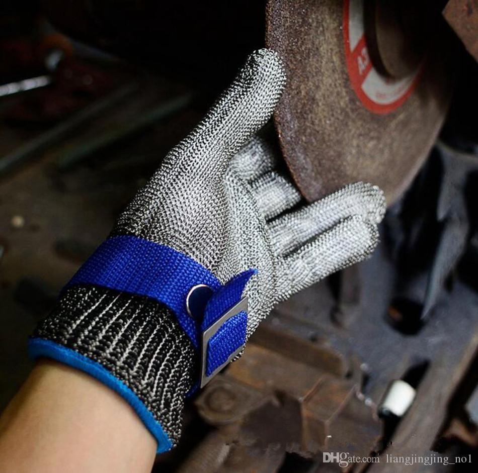 Luvas resistentes à prova de facadas de corte de segurança Aço inoxidável durável luvas de trabalho de açougueiro de malha de metal luvas resistentes ao corte OOA4782