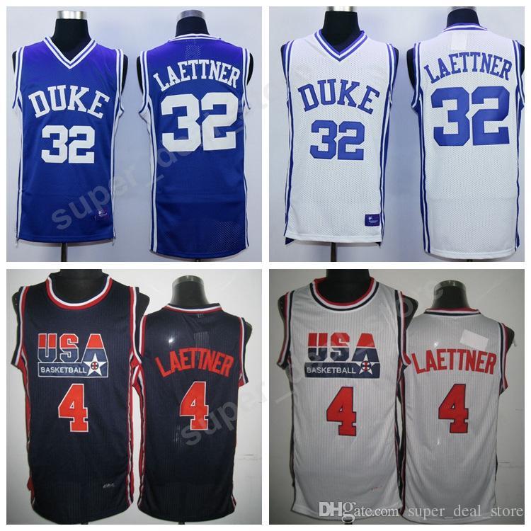 1baf4db398e3 Großhandel Duke Blue Devils 32 Laettner College Trikots 1992 Dream Team  Basketball 4 Christian Laettner Trikot Marineblau Weiß Alle Genäht Billig  Von ...