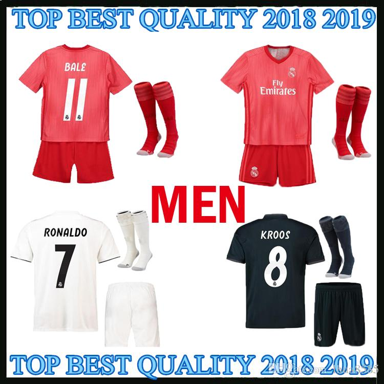 83f643de6 2019 ADULT KIT 18 19 Real Madrid Home Soccer Jerseys RONALDO 2018 2019  MARIANO BALE ISCO Camiseta De Fútbol Away 3RD Football Shirts Best Quality  From ...