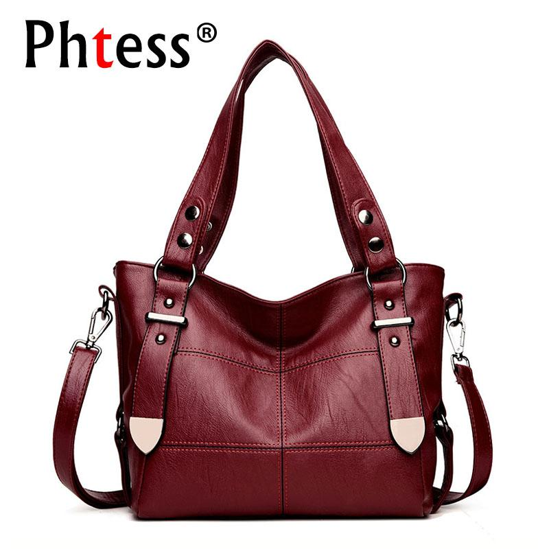 5d1311438 2018 Women Leather Handbags Vintage Sac Soft Leather Female Crossbody Shoulder  Bags Tote Ladies Designer Brand Top Handle Bags Laptop Bags For Women  Duffel ...
