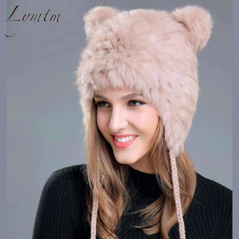 4d17d531f38 Lymtm Women Winter Lovely Bear Ear Skullies Beanies 2018 New Genuine Rex  Rabbit Fur Fabric Knitted Hats Girls Solid Colors Cap D18110102 Hats For  Men ...