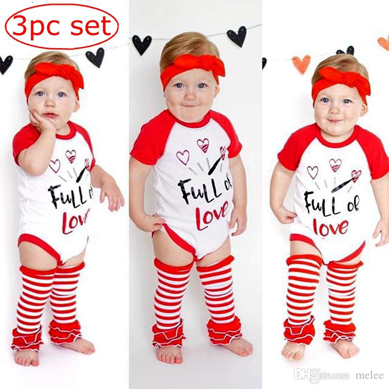 1f636255d 2019 Valentine S Day INS Kids Rompers Suit Newborn Infant Baby Girl ...