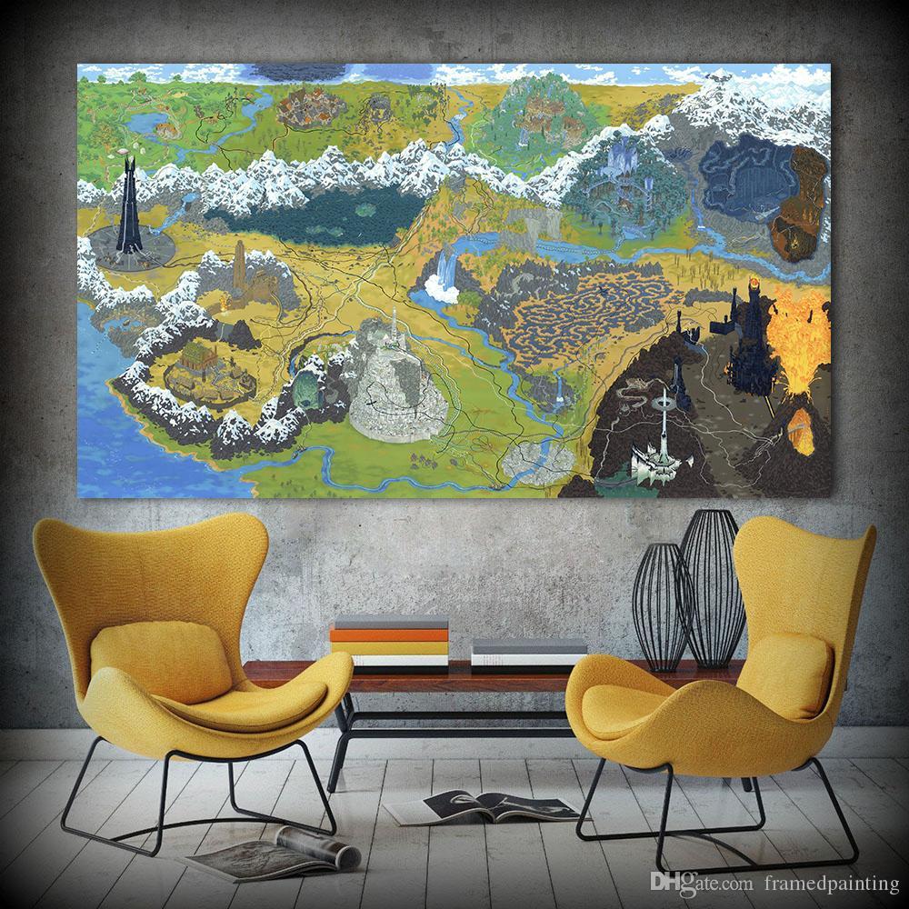 Acheter Affiche De Jeu Sur Toile Art Peinture A L Huile Carte Du Seigneur De L Anneau Mur Photos Pour Le Salon Home Decor No Frame De 25 89 Du Framedpainting Dhgate Com