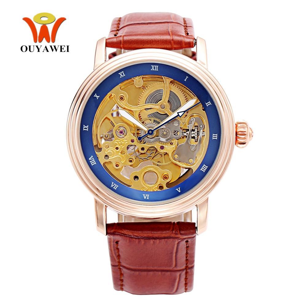 64feef76db4 Compre 2018 Famosa Marca Esqueleto Rose Gold Mecânico Automático Homem  Relógio De Pulso Pulseira De Couro Marrom Relógios De Negócios De Luxo  Montre Homme ...