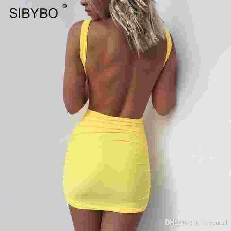 Sibybo Sexy Backless Summer Dress 2018 Slim Short Pencil Bandage Club Party  Dresses Casual Beach Mini Bodycon Dress Vestidos Strapless Dresses For  Teens ...