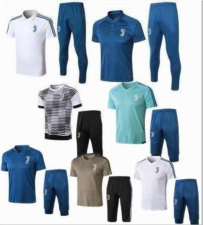 78c4487b0 Summer 2018 Juventus Short Sleeve 3 4 Pants Soccer Training Suit 18 19  RONALDO HIGUAIN DYBALA BUFFON Juve Football Shirt Tracksuit Soccer Jersey  Football ...
