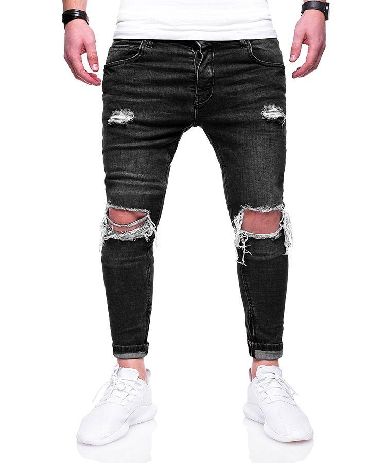 2018 europa e américa primavera e outono high street dos homens calças de brim buracos rua slim fit pés zipper zipper moda calças