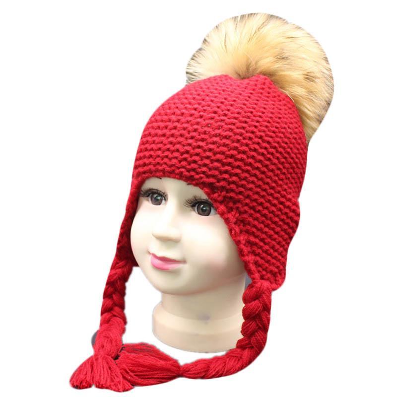 e244f6274 Compre 2018 Moda Otoño Invierno Pompón Sombreros Para Niños Bebés De Las  Muchachas De Punto Gorritas Tejidas Earflap Gorro De Ganchillo Bebé Sombrero  ...