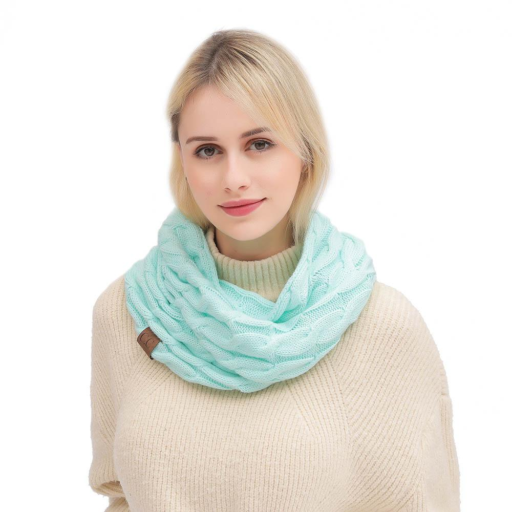 New Fashion C.C Knitted Scarves & Wraps Winter Cute Twist Wrap Knit Scarf Female Warm Scarf Ring Women Clothing Accessories 2019