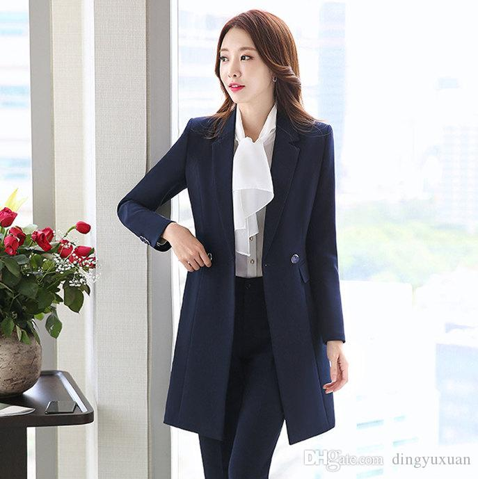 94223f3f2243 2019 Autumn Winter Women Double Breasted Long Blazer Elegant Long Sleeve  Formal Jacket For Office Lady Black Red Blue Blazer Mujer From Dingyuxuan,  ...