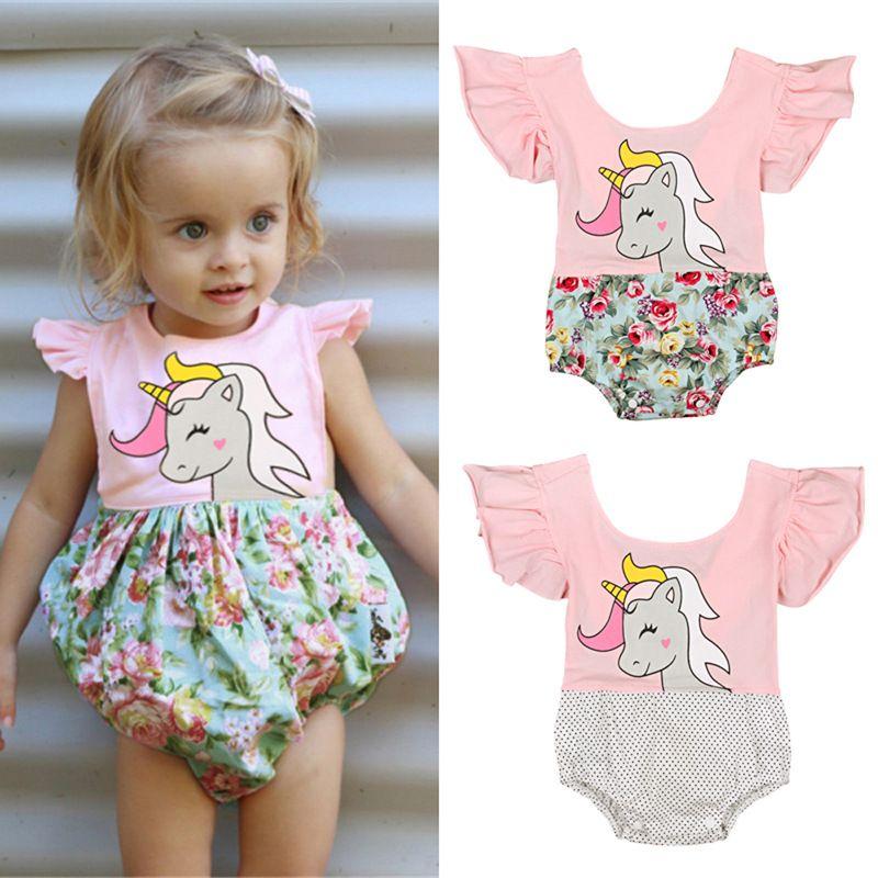 37bbef343 2019 Baby Girls Rompers 2018 Kids Summer Cartoon Unicorn Floral ...