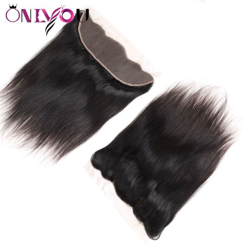 Бразильские Виргинские расширения волос прямые 13x4 уха до уха кружева фронтальная шелковистая прямая верхняя Реми закрытие волос подходит с пучками человеческих волос