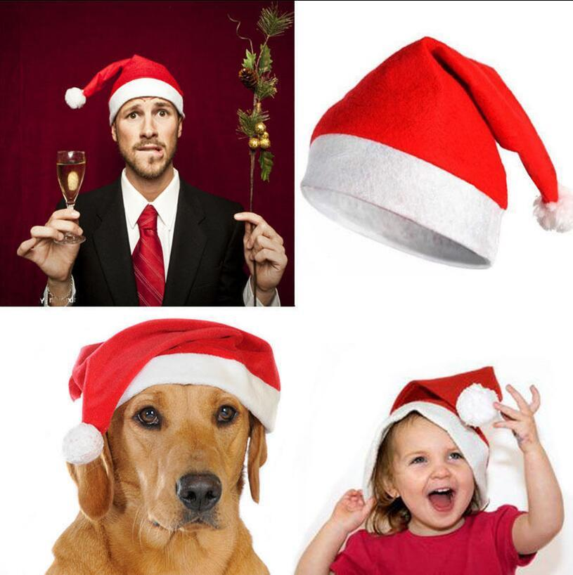 Kids Red Santa Claus Hats 2737cm Christmas Party Xmas Dress Up Caps OOA5401 60th Birthday Decorations 70th