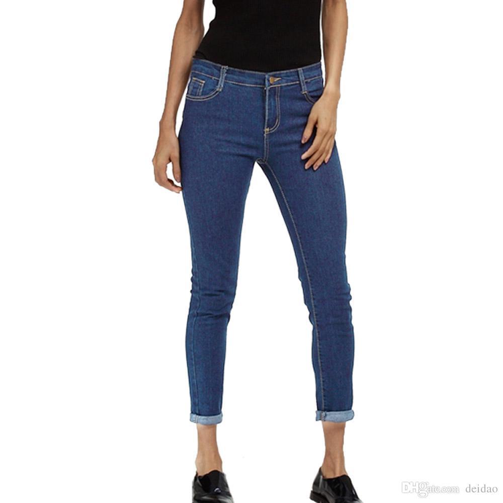 da0d4c768fcf3 2019 Wholesale 2017 New Fashion Jeans Women Pencil Pants Low Waist Jeans  Sexy Slim Elastic Skinny Pants Trousers Fit Lady Jeans Plus Size 5XL From  Deidao