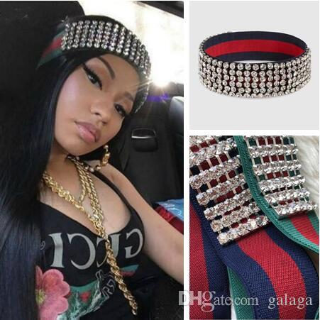 40de5b3cff2 Fashion Brand Full Rhinestone Elastic Headband Fashion Luxury Striped High  Quality Hairband For Women Girl Retro Headwraps Headbrand for Women Female  ...