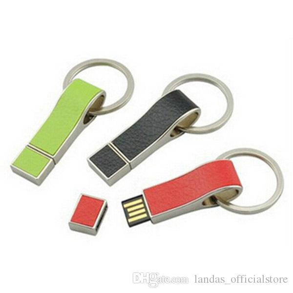 Leather USB Flash Drives 64GB Pen Drives 32GB Business Pendrive USB Flash Drive 4GB 8GB 16GB Keychain High speed Flash Disk