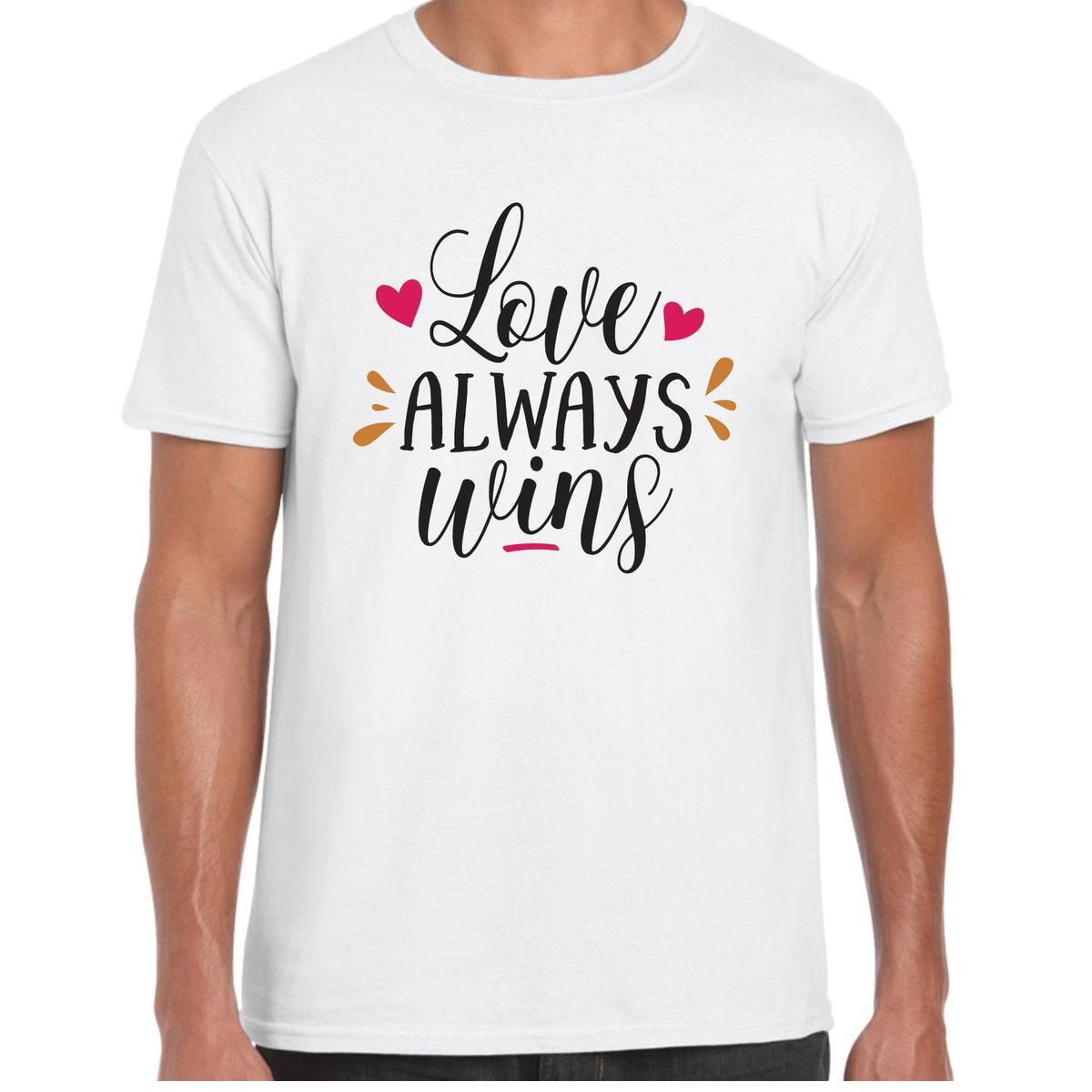 Love Always Wins Menst Shirt Valentine Birthday Anniversary Gift T