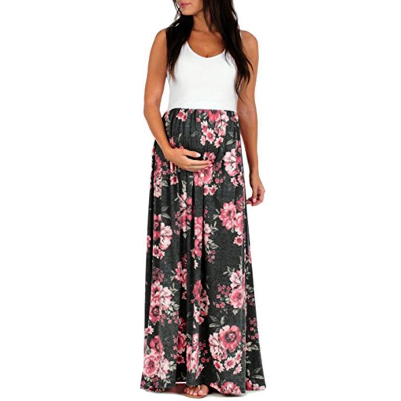 fe1531dc17 Good Quality Women S Sleeveless Pregnant Curta Top Ruched Maxi Maternity  Dress Mother Floral Sundress Floral Plus Size L XL Vestidos Long Dresses  Sale Dr ...