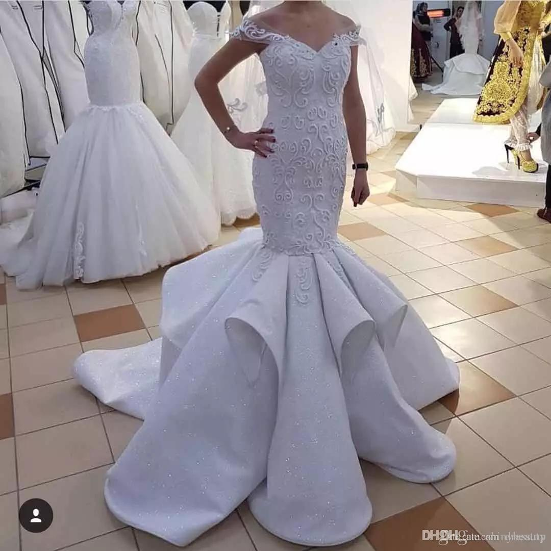 a5f75a08d49b Pure White Sexy Off Shoulder Mermaid Wedding Dresses Appliques Lace Bridal  Gowns With Beads Sequins Sweep Train Wedding Dress Ball Gowns Wedding  Dresses ...