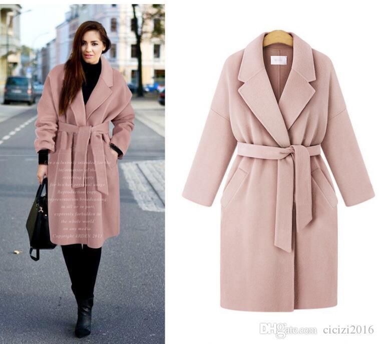 d84dbc5d574a7 2019 4XL Winter Women Coats Loose Lapel Belt Wool Blended Coat Thick Fashion  Women Outwear Pocket Plus Size Pink 080324 From Cicizi2016