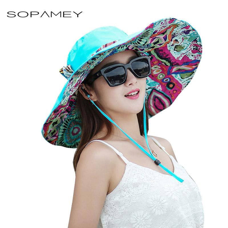 c19efe96e Fashion Women Sun Hats UV Protection Women Large Brim Beach Printing Caps  Hat With Foldable Style Lady's Bow Tie Sun Hat