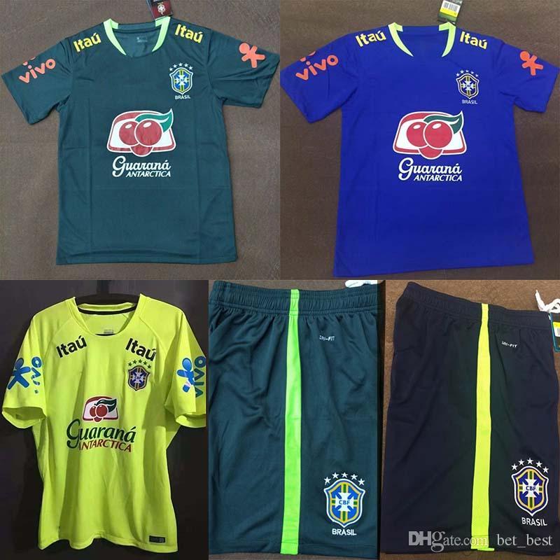 Compre Tops 2017 Brasil Formação Jersey Versão Tailandesa Amarelo Verde  Escuro Azul Treinamento Camiseta S 2xl De Bet best ff432660955eb