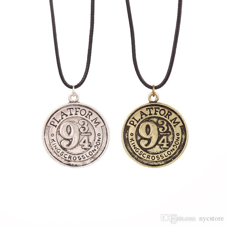 ac07c3a0f53c2 Platform 934 coin Necklaces Antique silver bronze Round rope chain Engraved  charm pendant Necklaces Potter Christmas gift