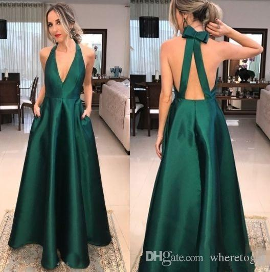 ad5844bf5385 2018 Emerald Green Prom Dress With Pocket Sexy Deep V Neck Floor Length Backless  Formal Evening Party Gowns Sexy Long Prom Dresses Short Plus Size Prom ...