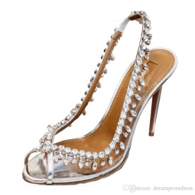 a2813a14e64 Bridal Crystal Shoes 2018 New Fashion Rhinestone Heel Shoes Silver Sheepskin  Wedding Pumps Summer Evening Party Shoes Wedding Shoes for Bride Bridal  Shoes ...